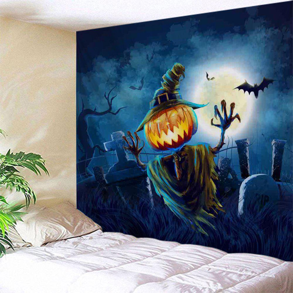 Halloween Home Decoration Wall Art TapestryHOME<br><br>Size: W71 INCH * L79 INCH; Color: NIGHT BLUE; Style: Festival; Theme: Halloween; Material: Polyester; Feature: Removable,Washable; Shape/Pattern: Print,Pumpkin; Weight: 0.3100kg; Package Contents: 1 x Tapestry;