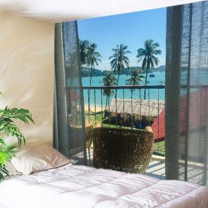 Balcony Beach Trees Print Tapestry Wall Hanging Art Decoration - Lake Blue - W59 Inch * L59 Inch