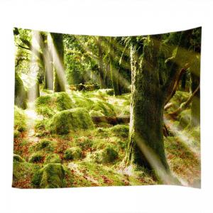 Forest Stone Print Tapestry Wall Hanging Art Decoration - GREEN W79 INCH * L71 INCH