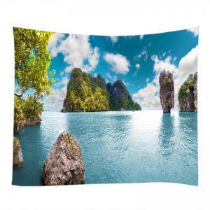Ocean Stone Island Print Tapestry Wall Hanging Art Decoration -