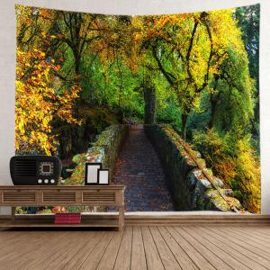 Forest Bridge Print Tapestry Wall Hanging Art Decoration - GREEN W59 INCH * L51 INCH
