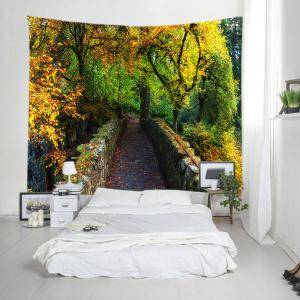 Forest Bridge Print Tapestry Wall Hanging Art Decoration - GREEN W79 INCH * L71 INCH