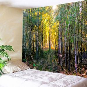 Forest Path Print Tapestry Wall Hanging Decoration - Green - W91 Inch * L71 Inch