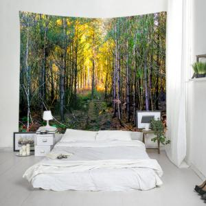 Forest Path Print Tapestry Wall Hanging Decoration - GREEN W91 INCH * L71 INCH