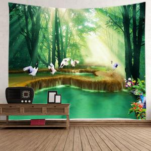 Forest Falls Print Tapestry Wall Hanging Art Decoration - GREEN W79 INCH * L71 INCH