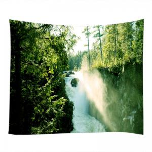 Forest Waterfall Print Tapestry Wall Hanging Art Decoration - GREEN W91 INCH * L71 INCH