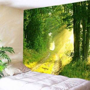 Forest Sunlight Path Print Tapestry Wall Hanging Art Decoration - Green - W91 Inch * L71 Inch