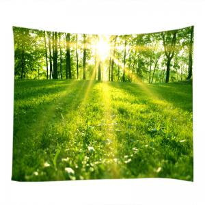 Sunlight Forest Lawn Print Tapestry Wall Hanging Art Decoration -