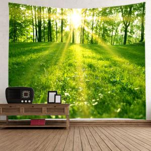 Sunlight Forest Lawn Print Tapestry Wall Hanging Art Decoration - GREEN W79 INCH * L71 INCH