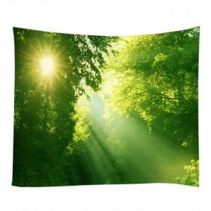 Sunlight Dense Forest Print Tapestry Wall Hanging Art Decoration - GREEN W79 INCH * L59 INCH