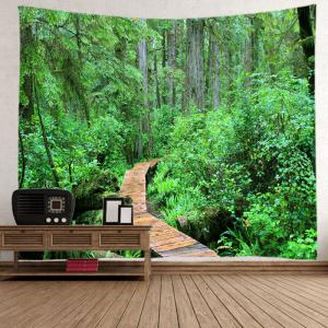 Forest Wood Path Print Tapestry Wall Hanging Art Decoration - GREEN W79 INCH * L59 INCH