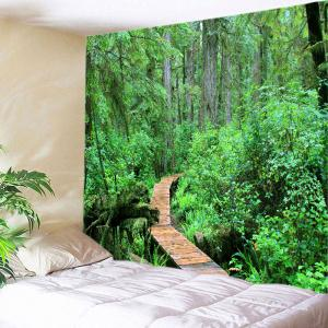 Forest Wood Path Print Tapestry Wall Hanging Art Decoration - Green - W91 Inch * L71 Inch