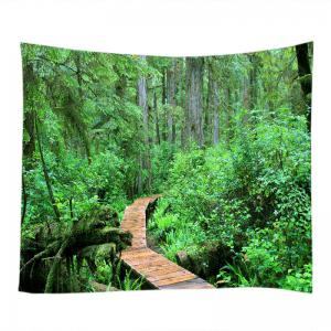 Forest Wood Path Print Tapestry Wall Hanging Art Decoration - GREEN W91 INCH * L71 INCH