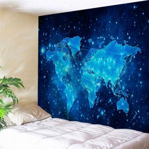Galaxy World Map Print Tapestry Wall Hanging Decoration - Blue - W71 Inch * L91 Inch