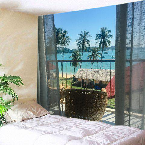 Lake blue w91 inch l71 inch balcony beach trees print for Balcony wall decoration