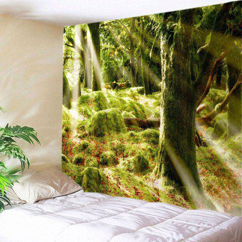 Latest Forest Stone Print Tapestry Wall Hanging Art Decoration GREEN W79 INCH * L71 INCH