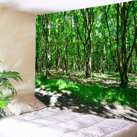 Cheap Sunshine Forest Print Tapestry Wall Hanging Art Decoration - W91 INCH * L71 INCH GREEN Mobile