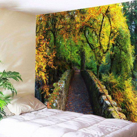Hot Forest Bridge Print Tapestry Wall Hanging Art Decoration - W59 INCH * L51 INCH GREEN Mobile
