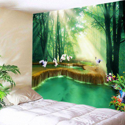 Fancy Forest Falls Print Tapestry Wall Hanging Art Decoration GREEN W79 INCH * L71 INCH
