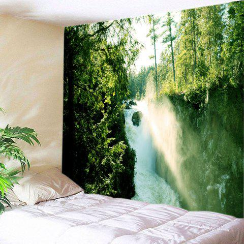 Store Forest Waterfall Print Tapestry Wall Hanging Art Decoration GREEN W91 INCH * L71 INCH