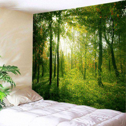 Hot Sunlight Forest Print Tapestry Wall Hanging Decoration - W91 INCH * L71 INCH GREEN Mobile