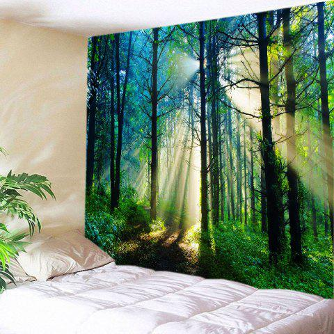 Trendy Forest Sunlight Pattern Tapestry Wall Hanging Art Decoration - W79 INCH * L71 INCH GREEN Mobile