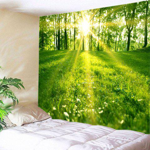 Shops Sunlight Forest Lawn Print Tapestry Wall Hanging Art Decoration - W79 INCH * L71 INCH GREEN Mobile