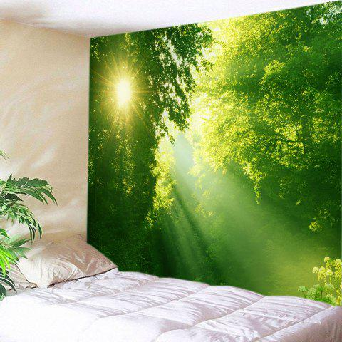 Affordable Sunlight Dense Forest Print Tapestry Wall Hanging Art Decoration GREEN W79 INCH * L59 INCH