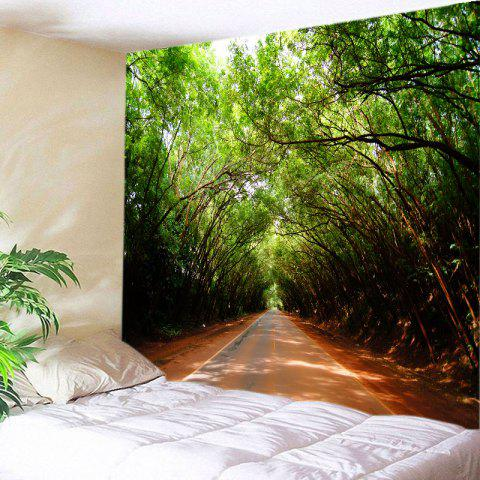 Latest Forest Driveway Print Tapestry Wall Hanging Art Decoration - W91 INCH * L71 INCH GREEN Mobile