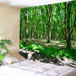 Sunshine Forest Print Tapestry Wall Hanging Art Decoration - GREEN W79 INCH * L71 INCH