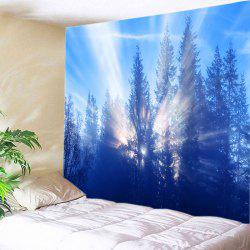 Sunlight Trees Print Tapestry Wall Hanging Decoration - AZURE W91 INCH * L71 INCH