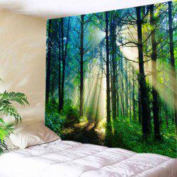 Forest Sunlight Pattern Tapestry Wall Hanging Art Decoration - GREEN