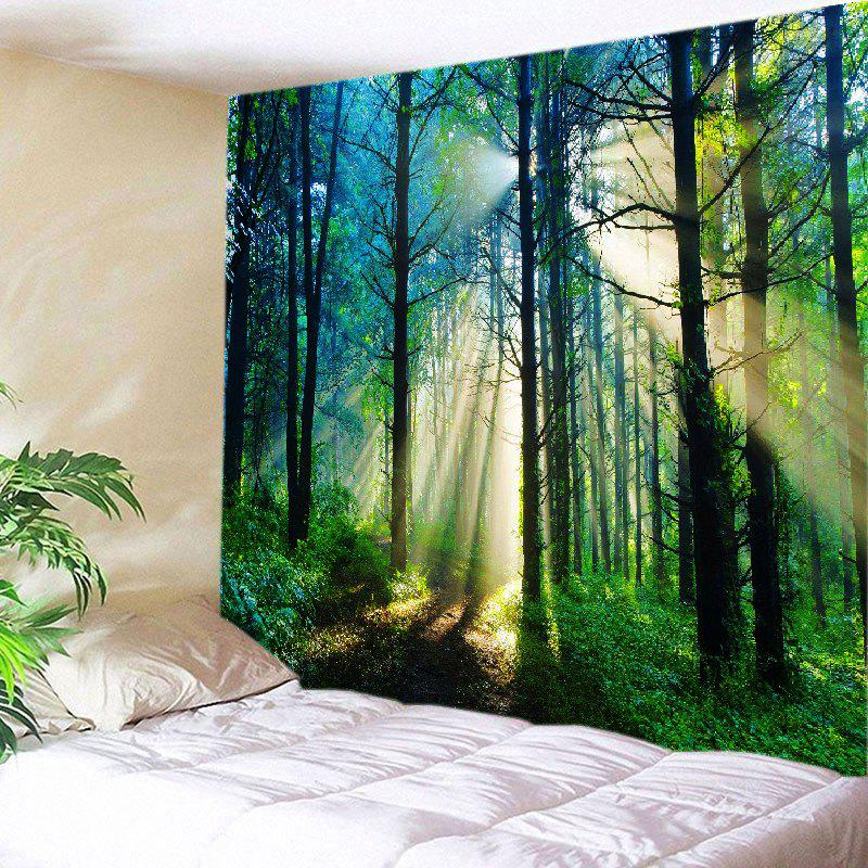 Forest Sunlight Pattern Tapestry Wall Hanging Art DecorationHOME<br><br>Size: W91 INCH * L71 INCH; Color: GREEN; Style: Natural; Theme: Landscape; Material: Polyester; Feature: Washable; Shape/Pattern: Forest; Weight: 0.4000kg; Package Contents: 1 x Tapestry;
