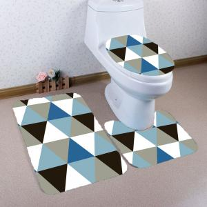 Rhombus Pattern Nonslip 3Pcs Bathroom Mats Set