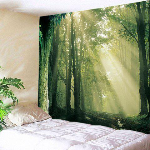 Forest Sunlight Path Print Tapestry Wall Hanging Decoration - Green - W91 Inch * L71 Inch