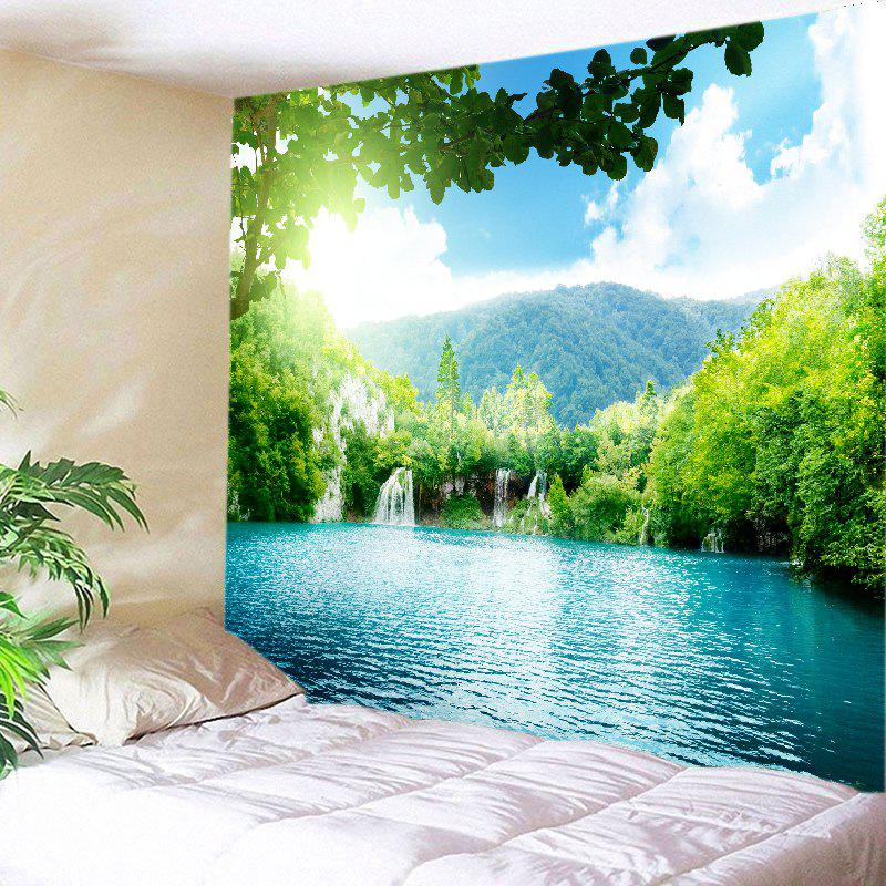 Moutain Falls Lake Print Tapestry Wall Hanging Art DecorationHOME<br><br>Size: W91 INCH * L71 INCH; Color: GREEN; Style: Natural; Theme: Landscape; Material: Polyester; Feature: Washable; Shape/Pattern: Print; Weight: 0.4000kg; Package Contents: 1 x Tapestry;