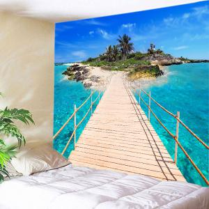 Ocean Bridge Island Print Tapestry Wall Hanging Art Decoration - Lake Blue - W91 Inch * L71 Inch