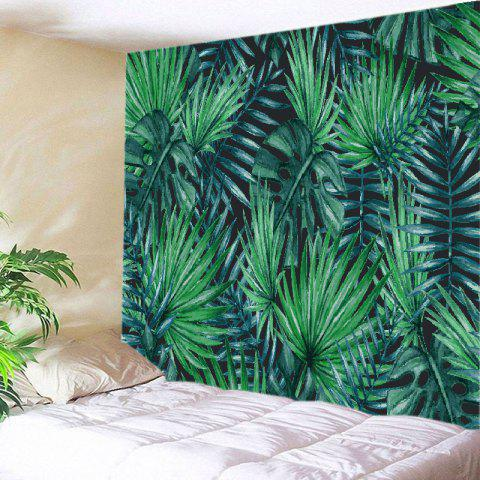 Tropical Leaves Print Tapestry Wall Hanging Art Decoration - Green - W91 Inch * L71 Inch