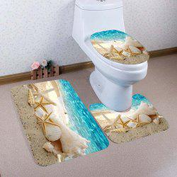 Beach Conch Starfish Pattern 3 Pcs Bath Mat Toilet Mat - LAKE BLUE