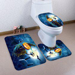 Halloween Terror Pumpkin Grave Printed Nonslip 3Pcs Bathroom Mats Set - BLUE