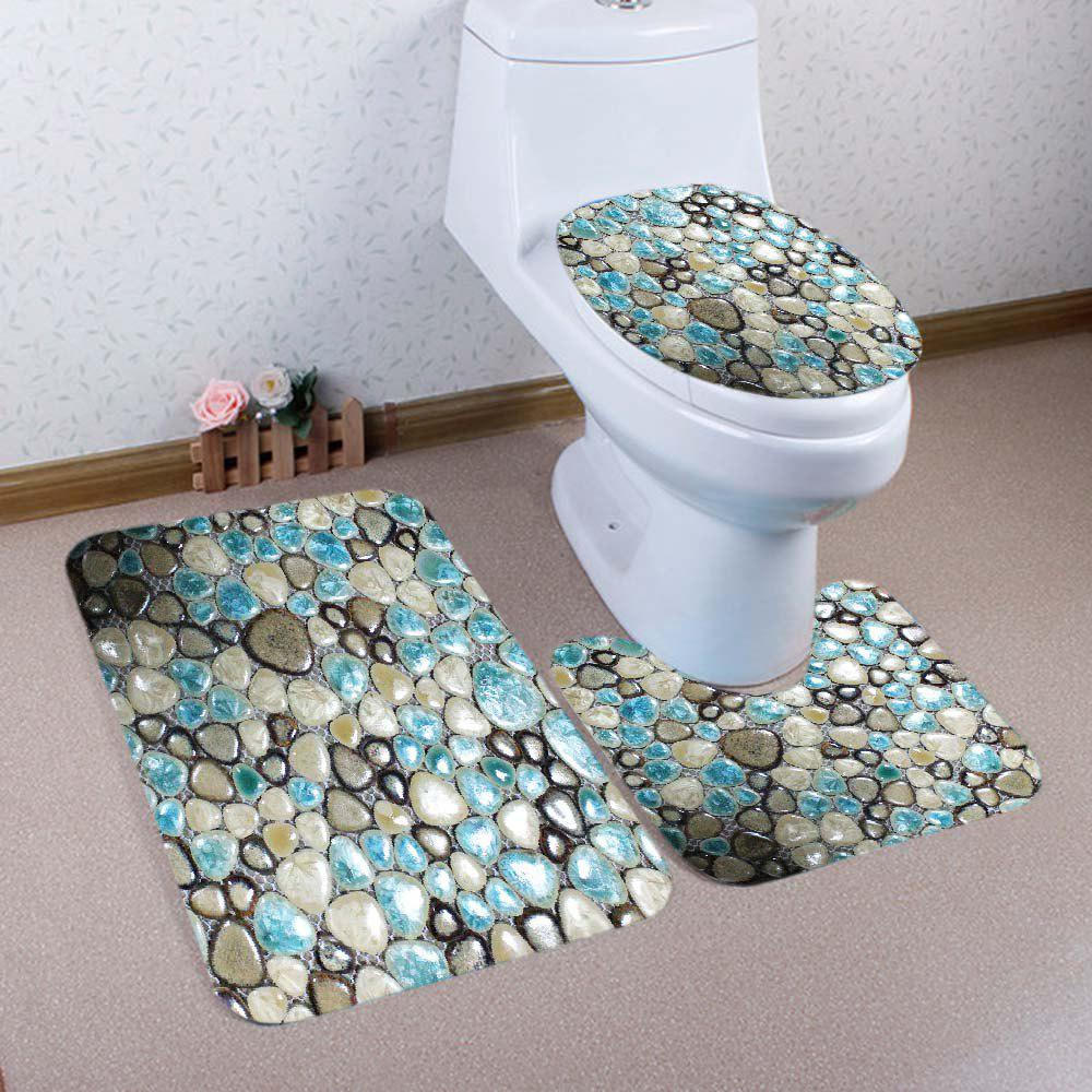 Fashion Pebble Stones Pattern 3 Pcs Bath Mat Toilet Mat