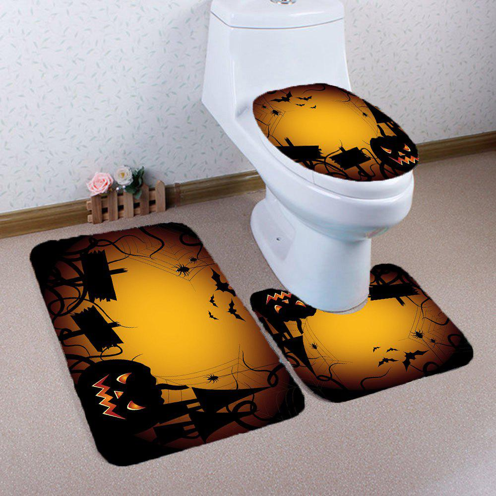 3 Pieces Halloween Spider Imprimé Mats De Salle De Bain Set