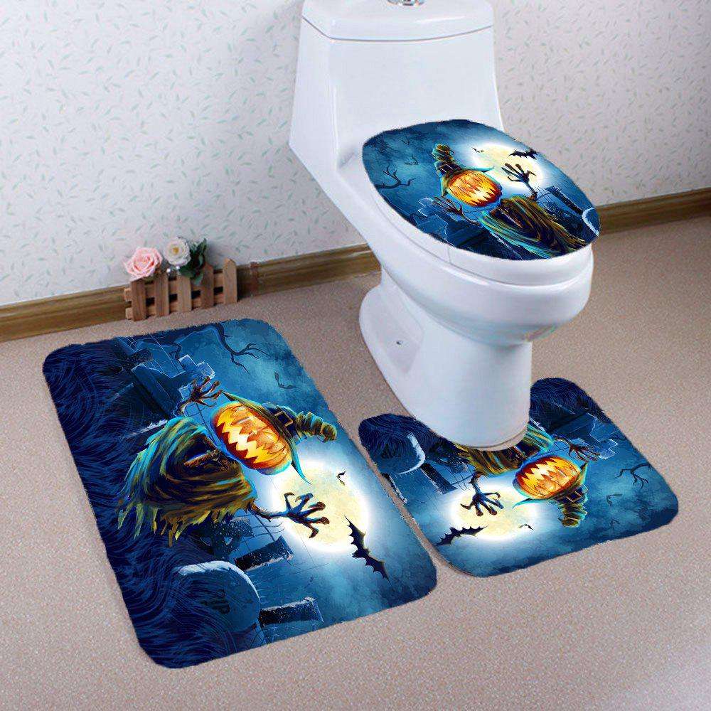 Hot Halloween Terror Pumpkin Grave Printed Nonslip 3Pcs Bathroom Mats Set