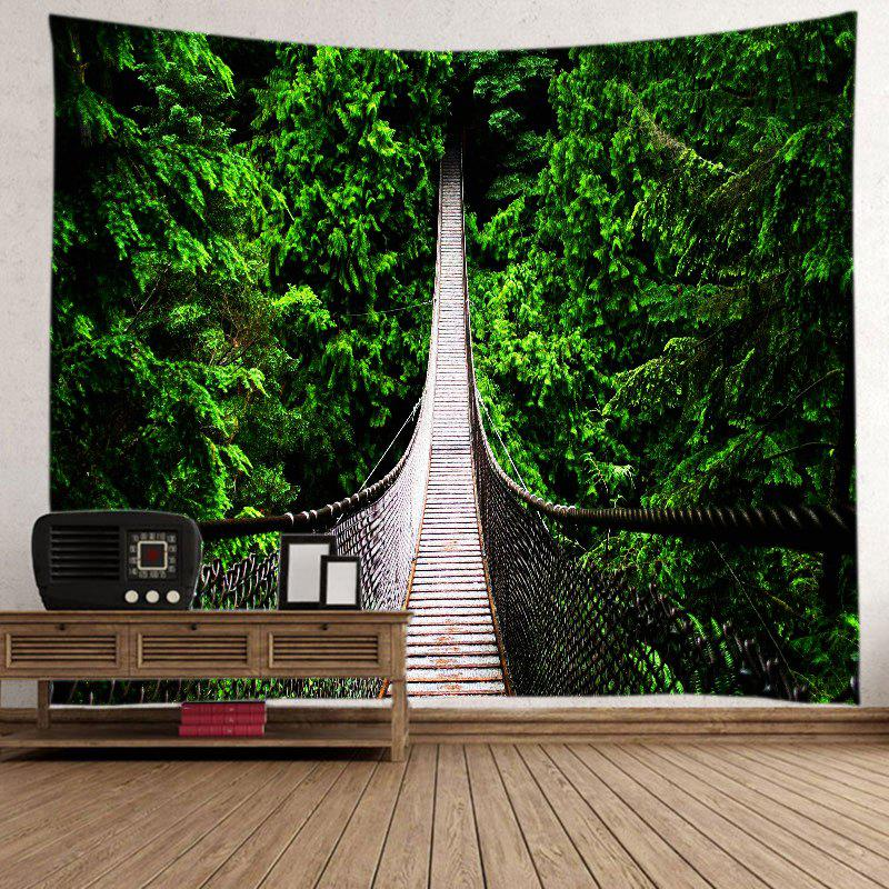 Forest Hanging Bridge Print Tapestry Wall Hanging Art DecorationHOME<br><br>Size: W91 INCH * L71 INCH; Color: GREEN; Style: Natural; Theme: Landscape; Material: Polyester; Feature: Washable; Shape/Pattern: Forest; Weight: 0.4000kg; Package Contents: 1 x Tapestry;
