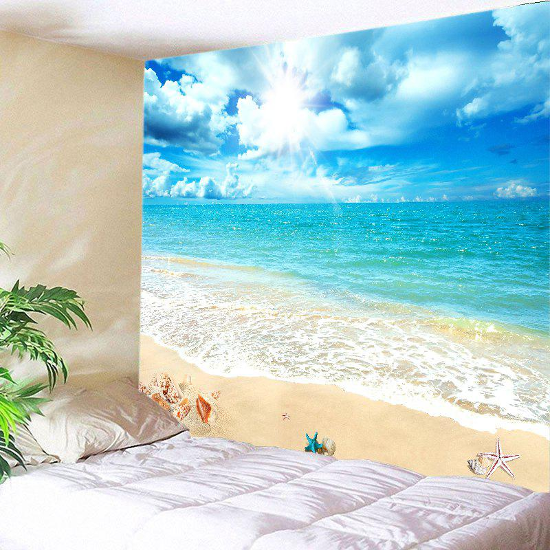Sunshine Beach View Print Tapestry Wall Hanging Art DecorationHOME<br><br>Size: W79 INCH * L59 INCH; Color: LAKE BLUE; Style: Beach Style; Theme: Beach Theme,Landscape; Material: Polyester; Feature: Washable; Shape/Pattern: Print; Weight: 0.3000kg; Package Contents: 1 x Tapestry;