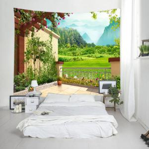 Floral Pergola Mountains Print Tapestry Wall Hanging Art Decoration - GREEN W59 INCH * L59 INCH