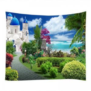 Sea Castle Garden Print Tapestry Wall Hanging Art Decoration - GREEN W59 INCH * L59 INCH