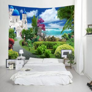 Sea Castle Garden Print Tapestry Wall Hanging Art Decoration - GREEN W91 INCH * L71 INCH
