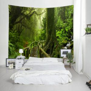 Forest Bridge Falls Print Tapestry Wall Hanging Art Decoration - GREEN W59 INCH * L51 INCH