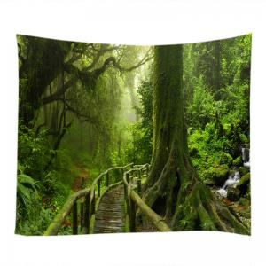 Forest Bridge Falls Print Tapestry Wall Hanging Art Decoration -